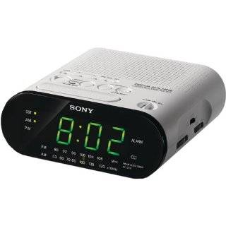 Sony ICF C218 Automatic Time Set Clock Radio (White)