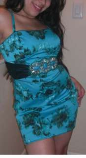 Marciano Guess Sky Blue Turquoise Belted Floral Dress 2/XS NWT $168