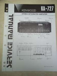 Vtg Kenwood Service Manual~KA 727 Integrated Amplifier~Original