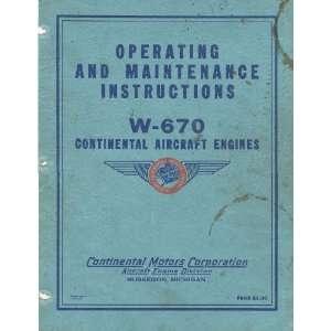 Continental WR 670 Aircraft Engine Maintenance Manual
