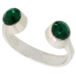 Emerald colored Crystals (May Birthstone) Adjustable (Size 2 to 4) Toe