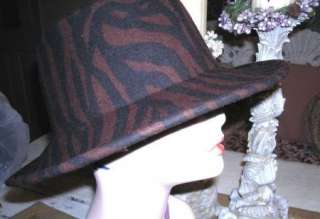 AWESOME BROWN ZEBRA PRINT WIDE BRIM WOOL HAT MUST SEE