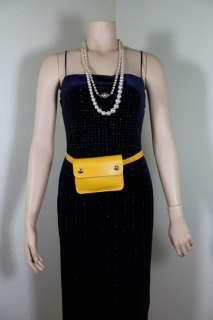Vintage HERMES Courchevel Jaune Mustard Yellow Waist Belt Bag Small