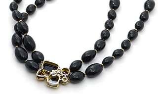 David Yurman Black Jet Bead 18k Sterling 18 Necklace Vintage Diamond