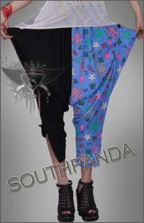 SL291 Wonderful Colorful Pattern Low Crotch Harem Pants Punk Fashion