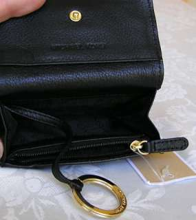 MICHAEL KORS JET SET LEATHER FLAP COIN PURSE WALLET BLACK NWT