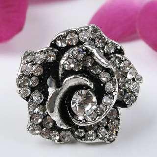 1P White Crystal Glass Rose Flower Adjustable Ring # 6