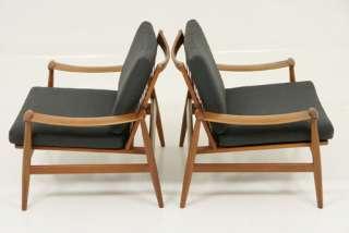 Finn Juhl for France & Son Pair Danish Teak Lounge Chairs Model 133