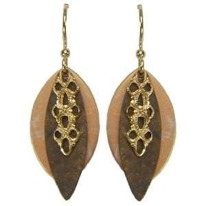 Jody Coyote Cafe Gold Bronze Oval Filigree Drop Earrings