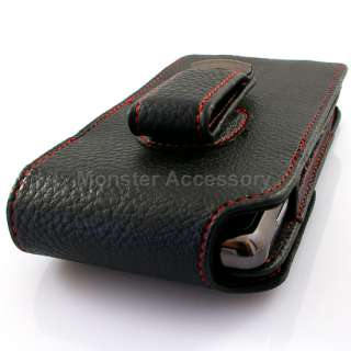 Vertical Red Stitched Leather Pouch Holster Case For Motorola Droid