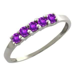 0.30 Ct Round Purple Amethyst 18k White Gold Ring Jewelry