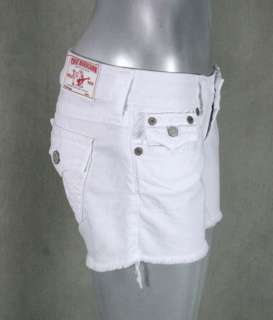 True Religion Jeans Womens KEIRA Cutoff shorts mid thigh optic White
