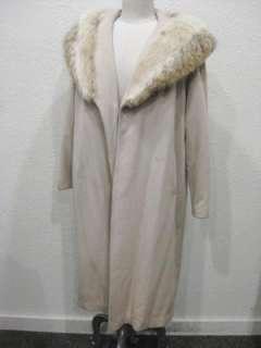 vtg 50s Taupe Wool Ladies Coat Fox Fur Collar
