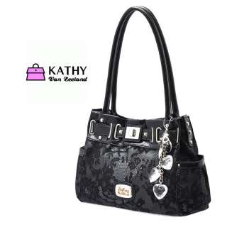 Kathy Handbag Black Lacer Tag Tote shoulder bag Crystal pendant NWT