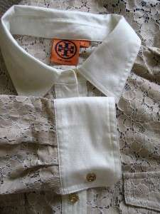 TORY BURCH Taupe Lace Blouse w/White Trim Size 8