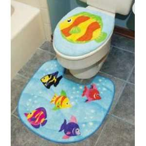 Tropical FISH bathroom RUG Bath mat Toilet Lid decor NU