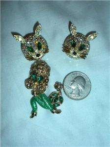 Lot Novelty Rhinestone Pins Poodle Dogs Kitty Cats Swan 1960s