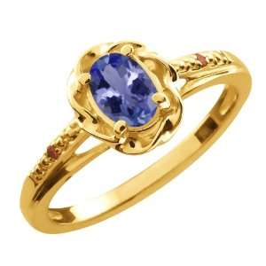 0.46 Ct Oval Blue Tanzanite Cognac Red Diamond 10K Yellow