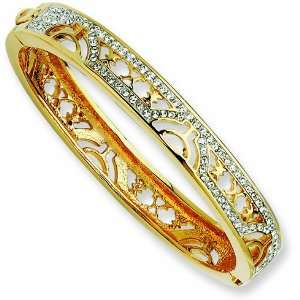 Gold plated Swarovski Crystal 7in Egyptian Bangle/Gold Plated Mixed