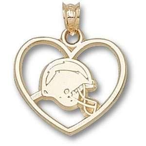 San Diego Chargers NFL Helmet Logo Heart Pendant (14kt