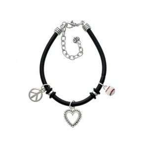 Mini Enamel Baseball Black Peace Love Charm Bracelet Arts