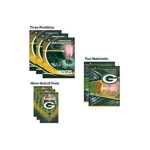 GREEN BAY PACKERS Logo School Combo 8 Pack   (3) Two Pocket PORTFOLIOS