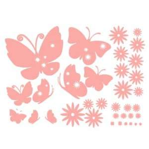 Butterflies Nursery/Kids Room Vinyl Wall Art Sticker Decals (Soft Pink