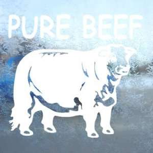 Pure Beef Bull Steer White Decal Cattleman Ranch Car White