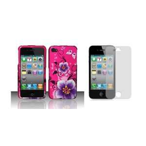 Premium Pink Purple Flower Butterfly Design Shield Hard Case Cover For