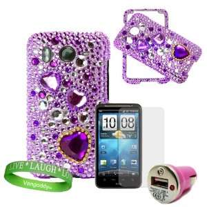 Hearts Rhinestone Diamond Snap on Case + Precut HTC Inspire Screen