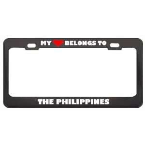 My Heart Belongs To The Philippines Country Flag Metal License Plate