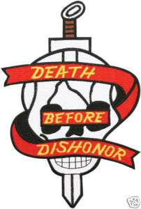 MARINES CORPS SKULL DEATH BEFORE DISHONOR JACKET PATCH