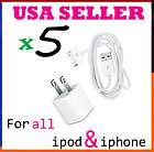 USB Wall Charger + Data Cable Cord for Iphone 4S 4G 3GS Ipod Touch USA