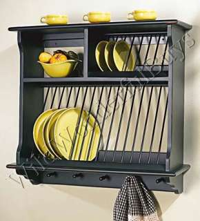 FRENCH COUNTRY SOLID WOOD KITCHEN PLATE RACK in BLACK