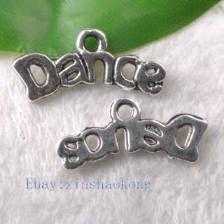 Tibetan Silver Fashion Dance Words Charm Pendents KP0465 20mm