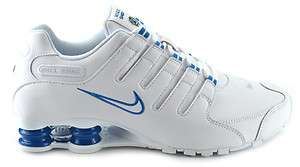 NIKE SHOX NZ MENS 378341 134 WHITE / WHITE / C.BLUE