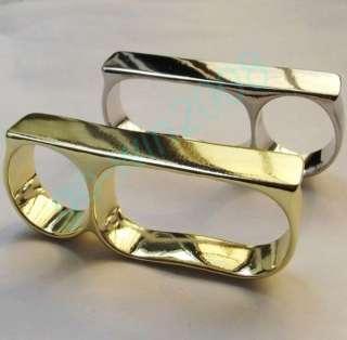 Three Triple Fingers Bar Ring Punk Rock Gold / Silver Tone Knuckle