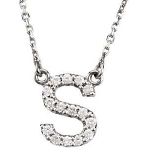 S/ 1/6 CT TW 14K White Gold Diamond Necklace Jewelry