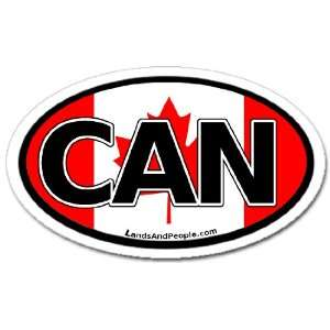 Canada CAN and Canadian Flag Car Bumper Sticker Decal Oval