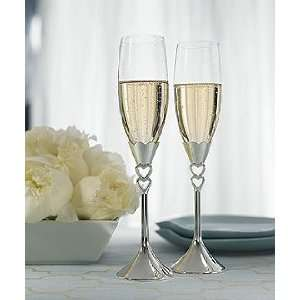 Wedding Toasting Glasses   Silver Plated Open Hearts Stem