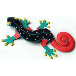 Painted Metal Gecko Wall Hanging   Tropical Design 8x13