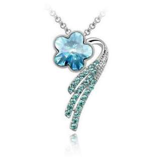 Brand New Authentic Swarovski Blue Crystal Flower Pendant Necklace