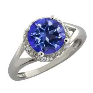 Ct Round Tanzanite Blue Mystic Topaz and Diamond Sterling Silver Ring