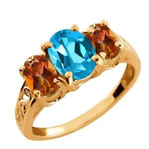 Swiss Blue Topaz and Ecstasy Mystic Topaz 14k Rose Gold Ring Jewelry