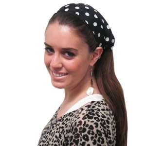 Black Large Polka Dot Wide Headband