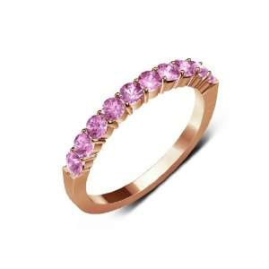 Pink Color) 10 Stone Wedding Band in 14K Rose Gold.size 6.5 TriJewels