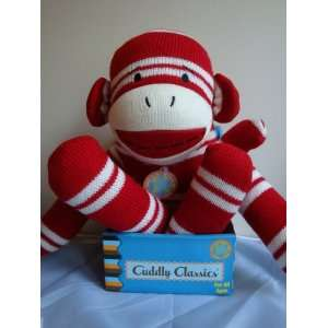 Cuddly Classics Sock Plush Toy   Red Striped Monkey Toys