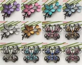 The Latest Craze Flower/Butterfly Rhinestone Crystal Pin Brooch in 12