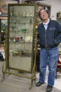 Ornate antique brass floor mirror cheval bird 6 ft tall for 6 foot floor mirror