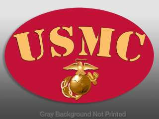 Oval Red & Gold USMC Logo Sticker  decal marine marines
